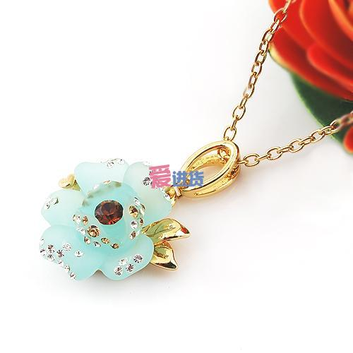 威妮华饰品/蓝色玫瑰花镶钻项链