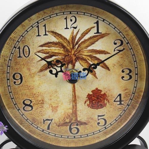 圆形椰子树图案小坐钟_欧式古典_钟表_家居装饰_义乌