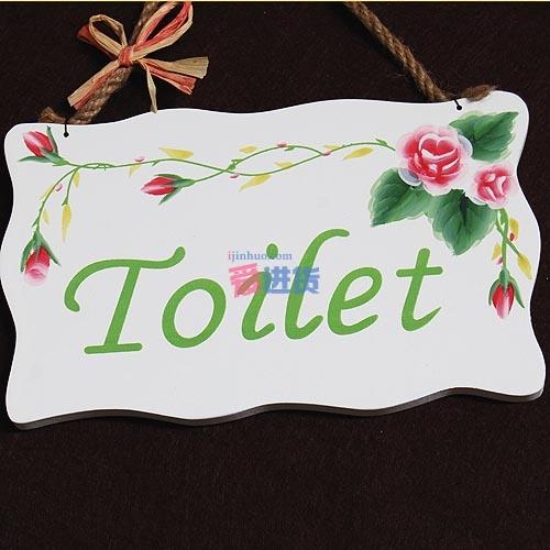 哈韩族 田园风格纯手绘玫瑰门牌 卫生间挂牌-toilet