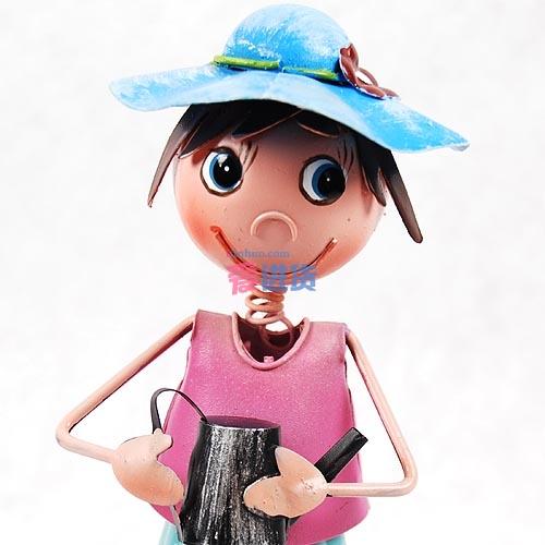 欧美风格手工艺品家居摆件桌面摆设铁皮娃娃-运动女孩