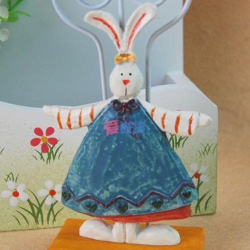 【出口英国原单】(蓝色)可爱树脂立体小兔子 便签夹名片夹