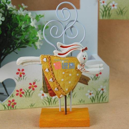【出口英国原单】(蛋黄色)可爱树脂立体小兔子 便签夹名片夹