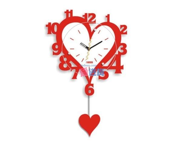 家居装饰 钟表 现代创意 创意时钟 田园时钟 时尚挂钟 红色心型数字挂