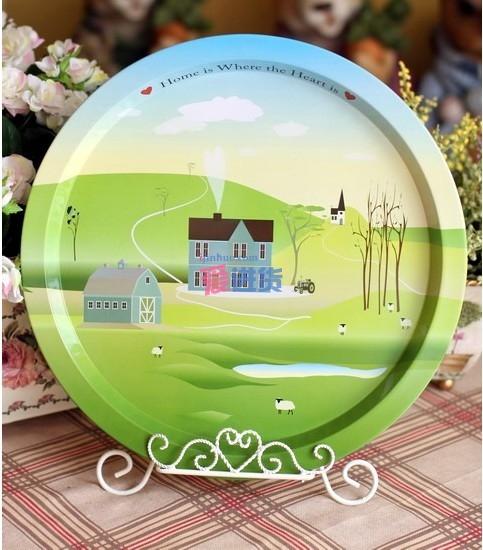 英国乡村风景的12寸铁皮盘子/装饰盘/果盘 不包含铁架