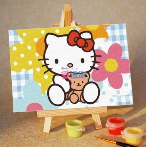首页 家居装饰 墙面挂饰 油画 数字油画可爱kitty猫 手绘 油画 带画架