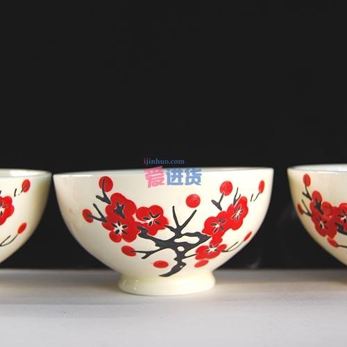 韩国陶瓷碗_时光屋【爱瓷家居 eksid】 日式和风碗 日韩饭碗 梅花陶瓷