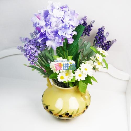 时光屋欧式田园风格陶瓷花瓶桌面摆设,时尚花插