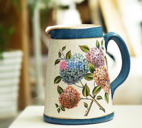 欧式美克美家风格 若尔芬手绘陶瓷水罐/花瓶/花插/罐