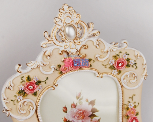 时光屋欧式田园风格树脂玫瑰花相框/相架/玫瑰相框/桌面摆件