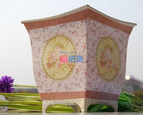 欧式典雅花纹 田园风格/方樽型铁艺花插大小两件套 花