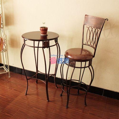 时光屋 铁艺阳台套装桌椅/吧台凳子/休闲小桌子(1个桌子 2个椅子)