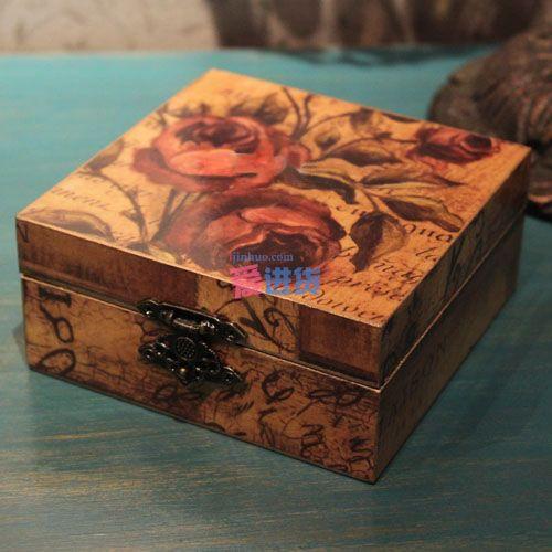 木质复古彩绘玫瑰杯垫/中式杯垫