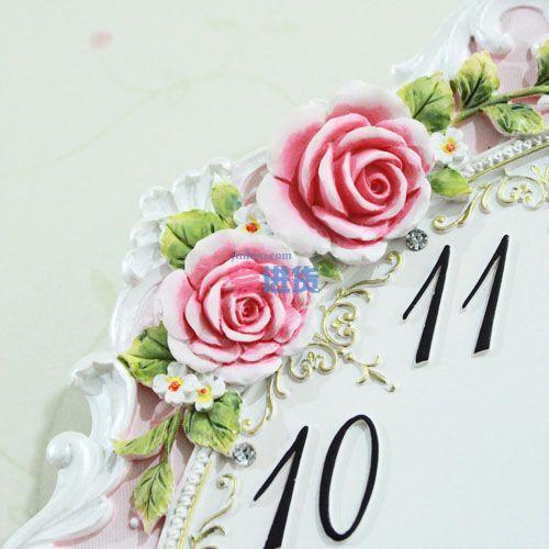 欧式宫廷风格挂钟 白色花藤浮雕挂钟 玫瑰浮雕挂钟 客厅静音钟 树脂