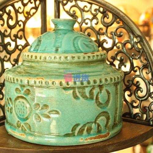 欧式经典家居装饰 蓝色花纹陶瓷罐/花瓶/花插 时光屋