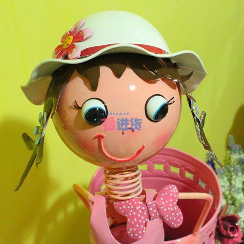 大号铁皮娃娃/雨伞收纳桶 粉红女孩 家居摆件 时光屋