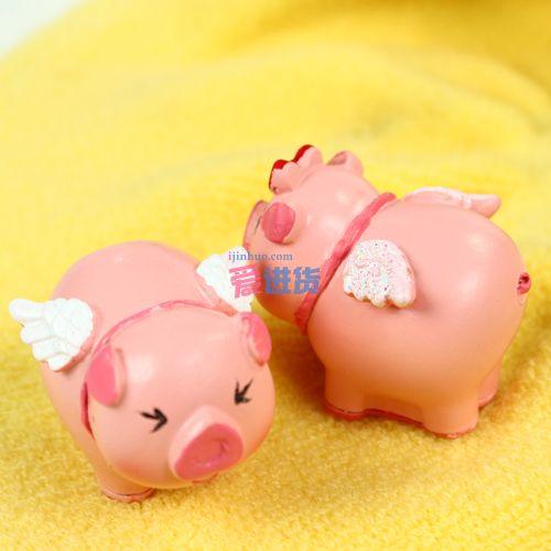 亲亲小猪摆件/树脂摆件套装 两只小猪 时光屋