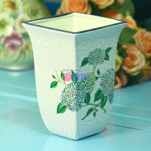 欧式美克美家风格 莱特茵手绘陶瓷方樽/花瓶/花插