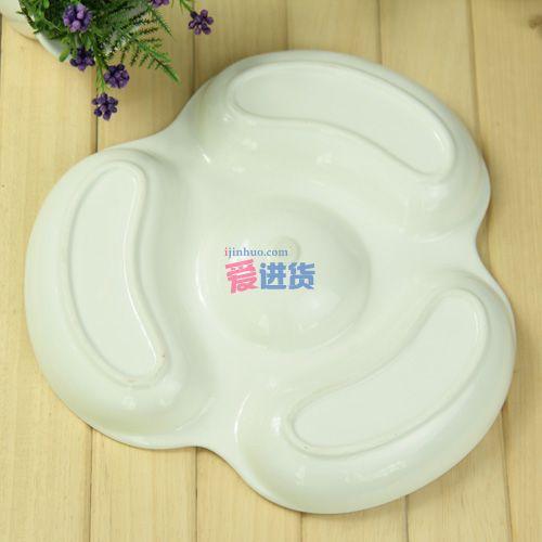 卡通kitty猫陶餐拼盘/盘子 时光屋_碗|筷|勺_餐厅_日