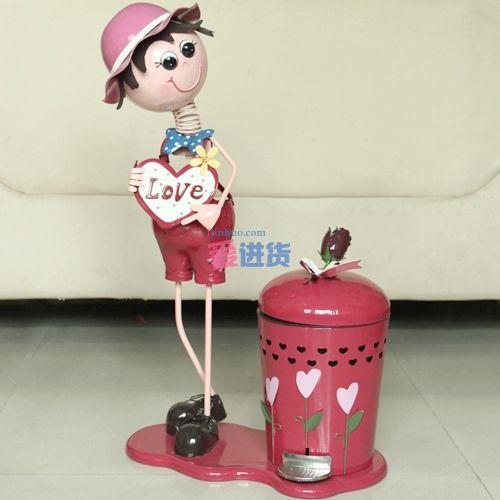 大号铁皮娃娃收纳桶 love 玫瑰花女孩 时光屋