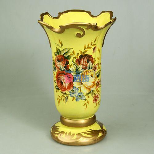 米黄金边 手绘陶瓷花插/陶瓷花瓶 欧式田园风 时光屋