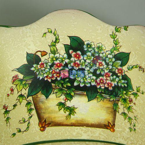 绿边水纹 壁挂式手绘陶瓷花插/花瓶 欧式田园风 时光屋