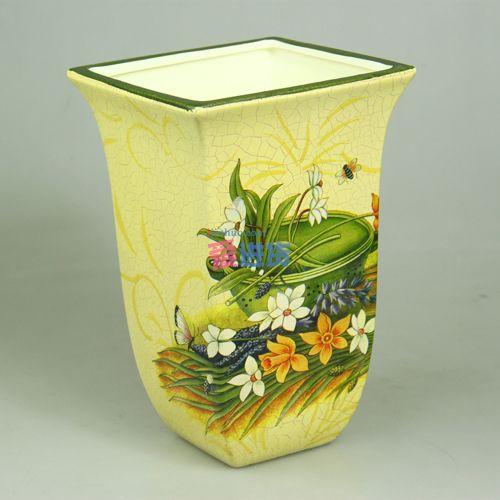方口裂纹 手绘陶瓷花插/陶瓷花瓶 欧式田园风 时光屋