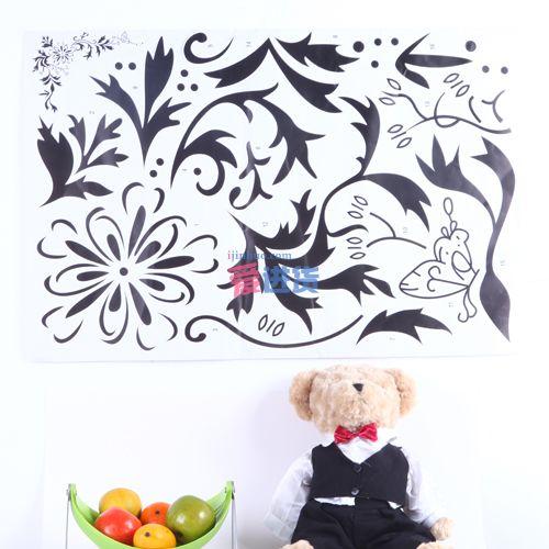 diy创意 墙贴/墙纸/贴纸 黑花纹 时光屋