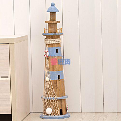 本款彩绘灯塔海洋风系列装饰套件/木质摆件/家居摆设采用原木 手绘