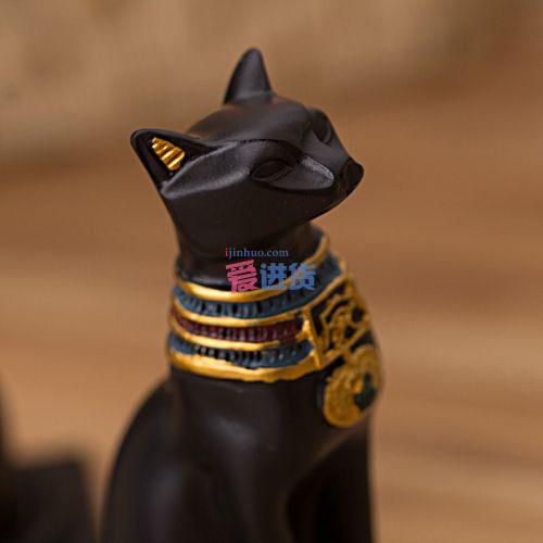 产品描述: 本款埃及猫神香薰炉,手工制作,做工精致,细节出众,摆放