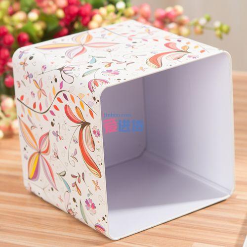正方体   产品描述: 本款彩花枝图案马口铁纸巾盒/纸巾抽/收纳盒,造型