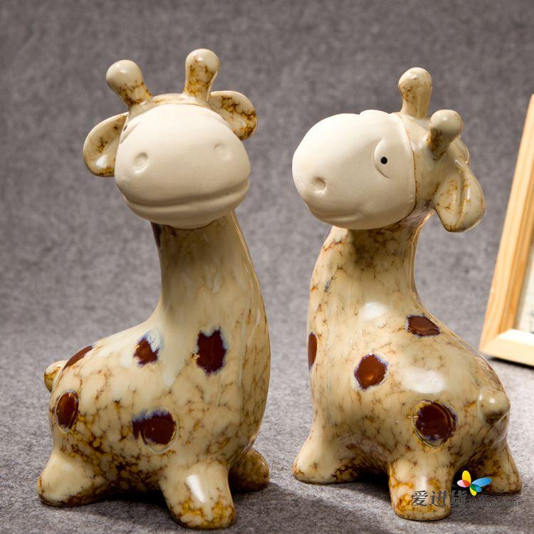 长颈鹿 陶瓷摆件/装饰摆件/动物摆件 一对