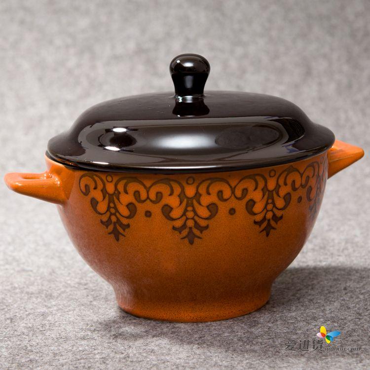 环碗花纹 陶瓷碗/汤碗/双耳碗 四色混