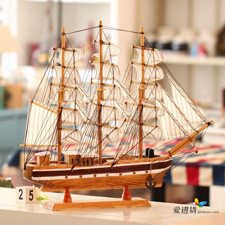 地中海风格 个性创意原木质多帆船摆件/摆饰 咖啡色 时光屋