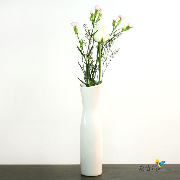 欧式家居创意装饰 白色陶瓷花瓶/花插 时光屋