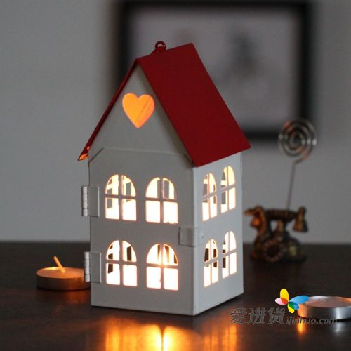 欧式铁艺复古镂空风灯烛台婚庆温馨小房子家居摆设蜡烛台杯礼物