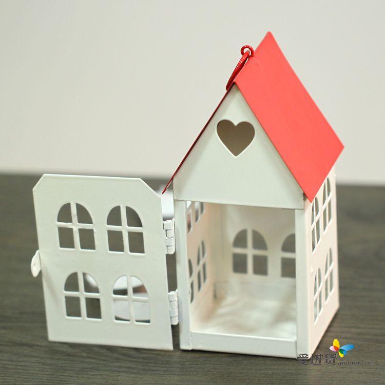 欧式铁艺复古镂空风灯烛台婚庆温馨小房子家居摆设台
