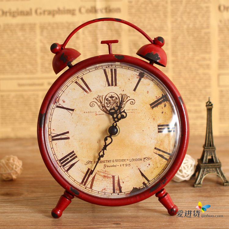 美式仿复古铁艺静音表客厅挂钟表欧式 时尚装饰创意壁