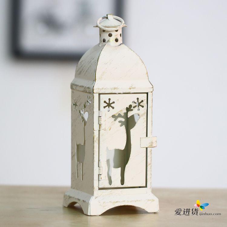 首页 家居装饰 烛台风灯 欧式风灯铁艺烛台白刷金圣诞树麋鹿天使家居