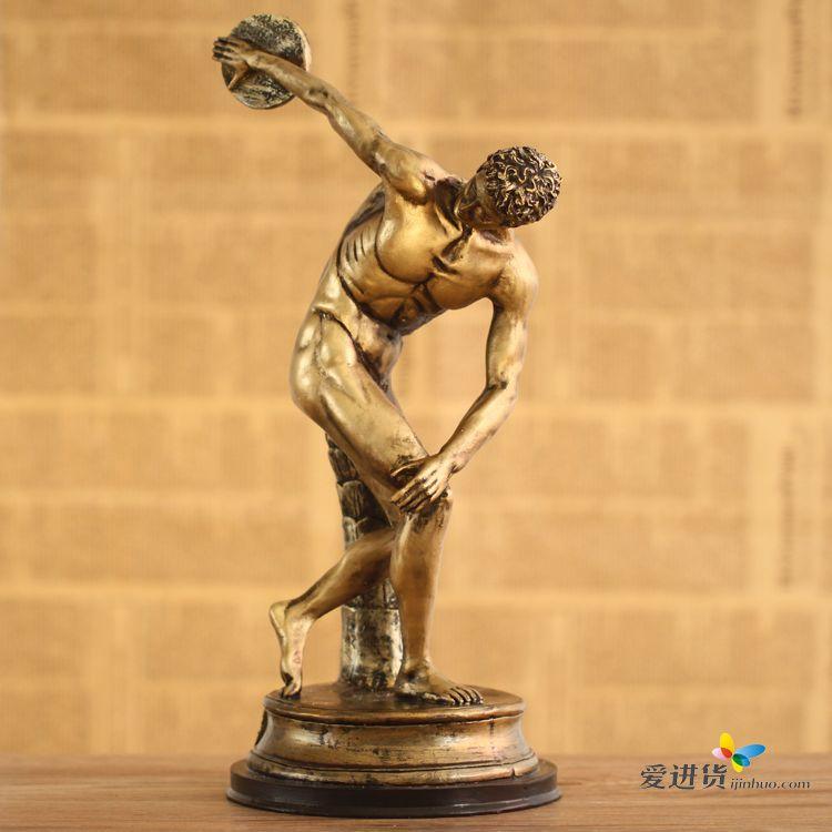 欧式家居饰品希腊艺术收藏品掷铁饼者人物雕塑摆件酒店软装饰品