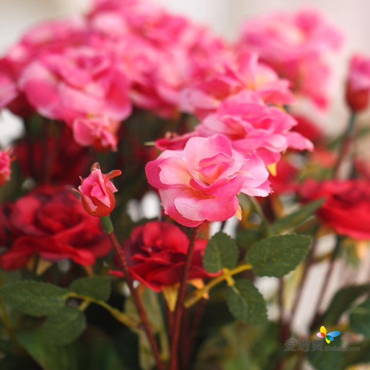 仿真玫瑰花 假花装饰花小植物盆栽批发 田园藤编篮花艺套装