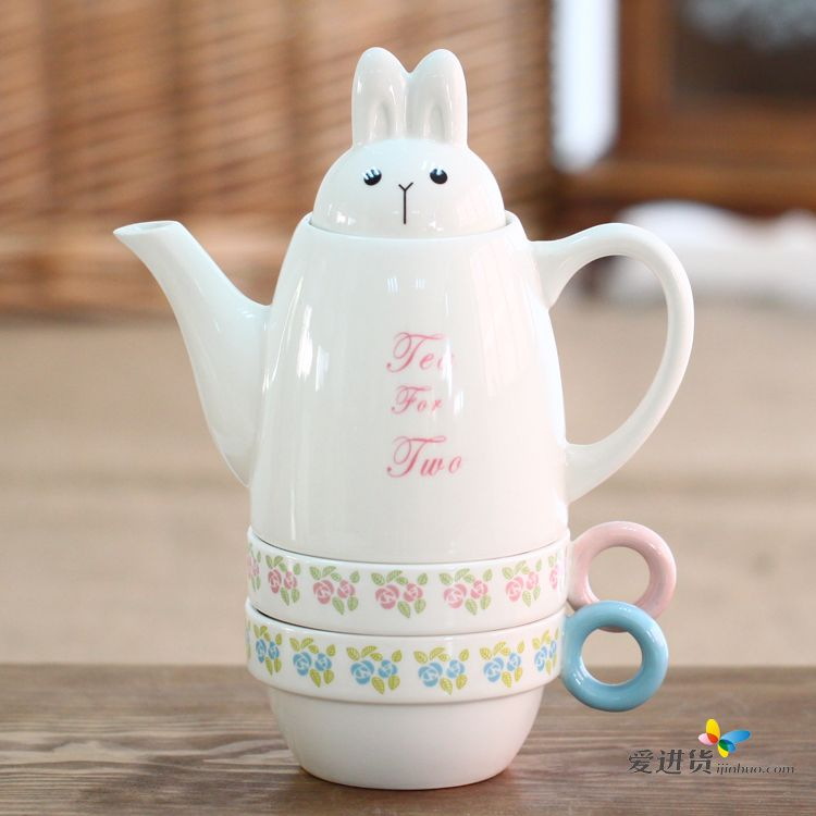 水壶可爱动物园套杯 陶瓷茶具套装 茶壶 茶杯3件套 4色混