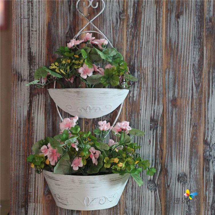 假花壁挂花篮装饰墙挂墙饰
