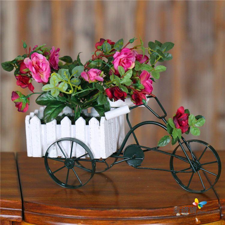 欧式铁艺 创意三轮车仿真盆栽图片
