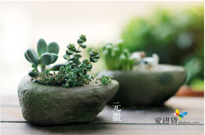 仿真水泥石花器多肉植物花盆树脂工艺摆件微景观创意礼品盆栽